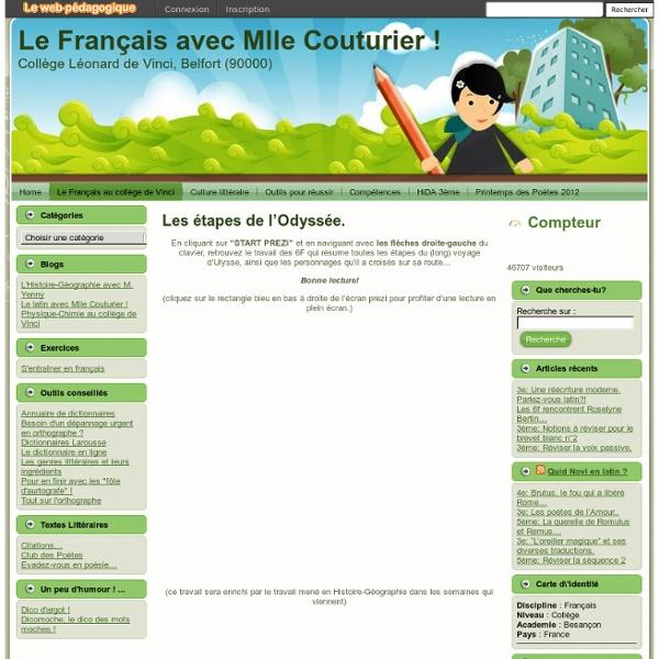 Le Français avec Mlle Couturier !: Les étapes de l'Odyssée.