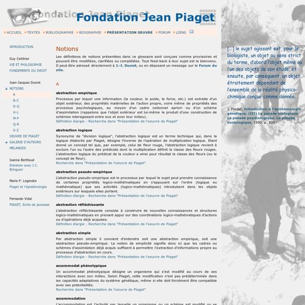 Fondation Piaget notions