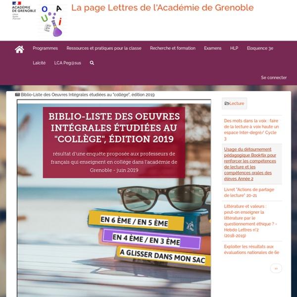 """Biblio-Liste des Oeuvres Intégrales étudiées au """"collège"""", édition 2019"""