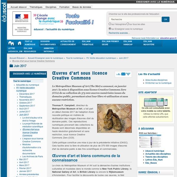 Œuvres d'art sous licence Creative Commons — Enseigner avec le numérique