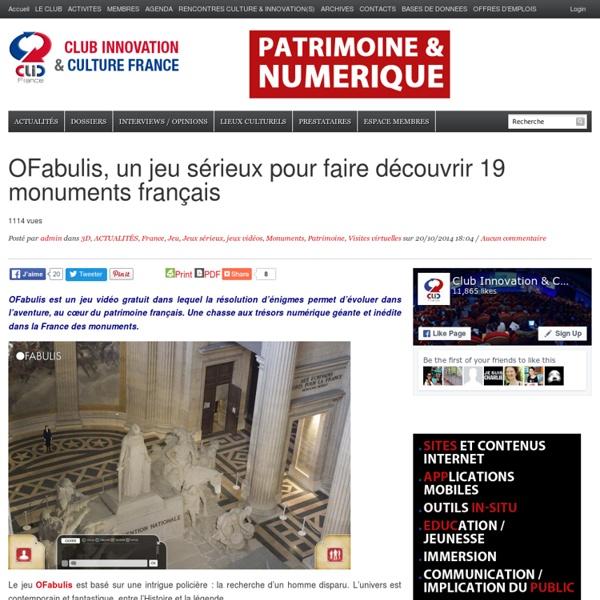 OFabulis, un jeu sérieux pour faire découvrir 19 monuments français