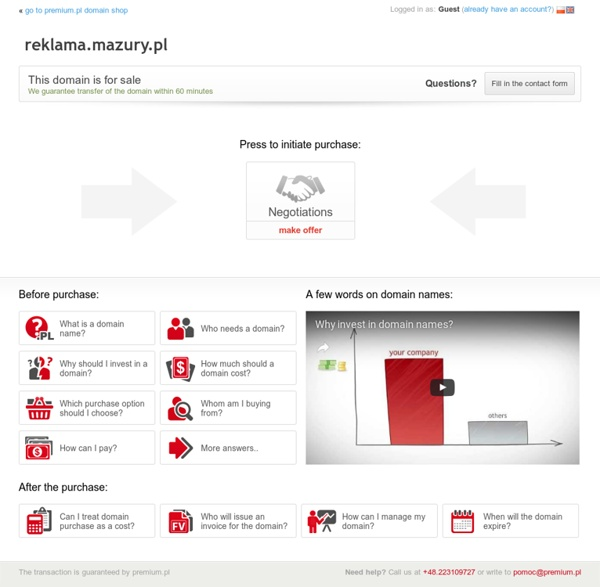 Oferta sprzedaży domeny reklama.mazury.pl (reklama)