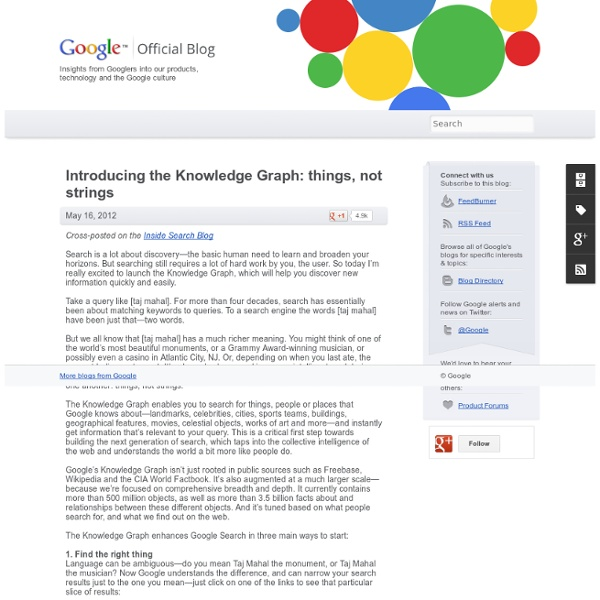 Introducing the Knowledge Graph: things, not strings
