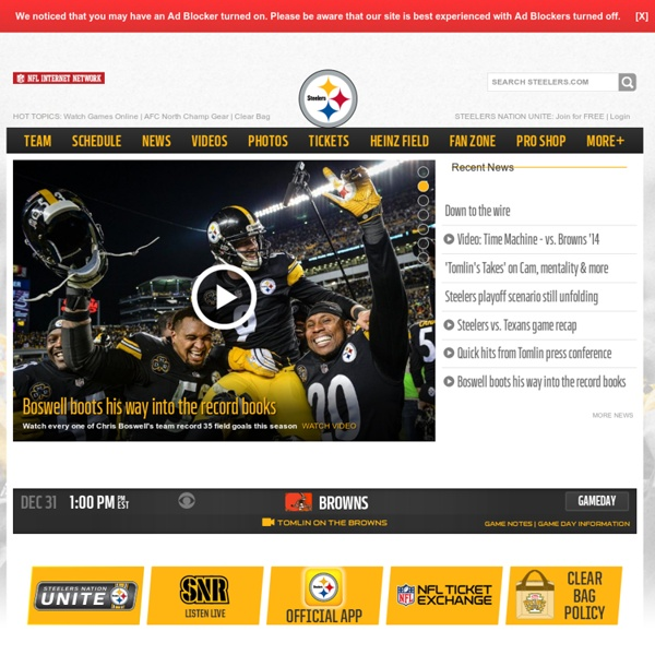 The Home of the Steelers, Nov 26, Visit the Steelers' official website for your daily fix of team information.
