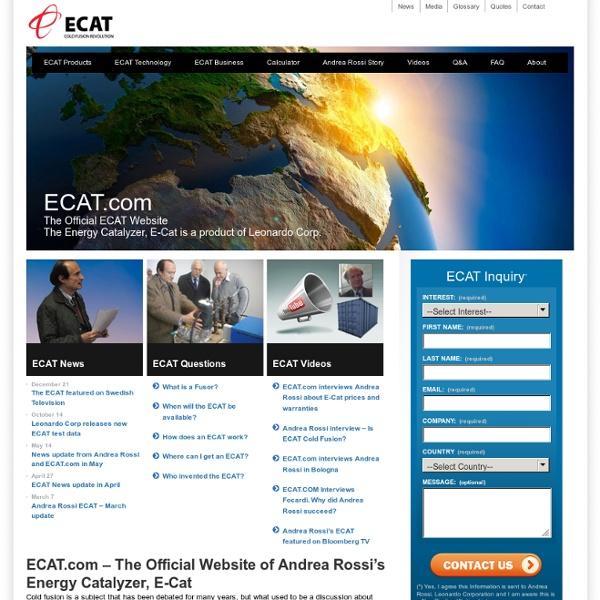 ECAT.com, The Official E-Cat Website of Andrea Rossi's Energy Catalyzer