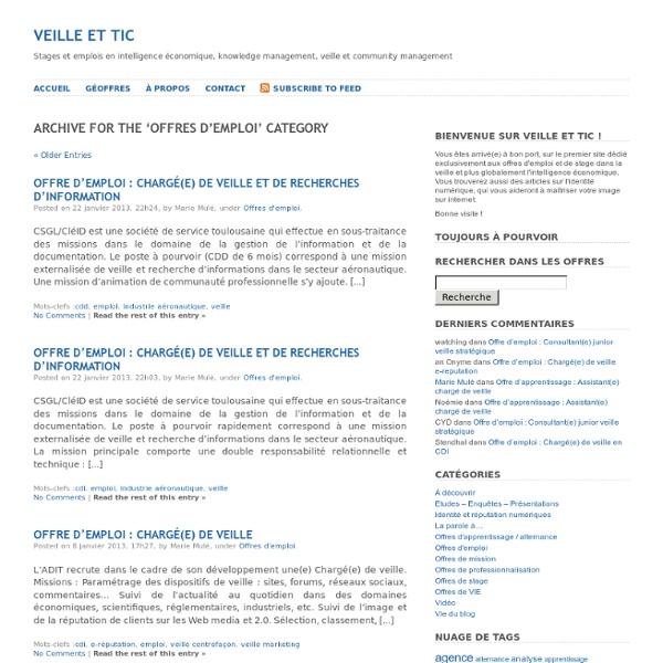 Veille et TIC » Offres d'emploi