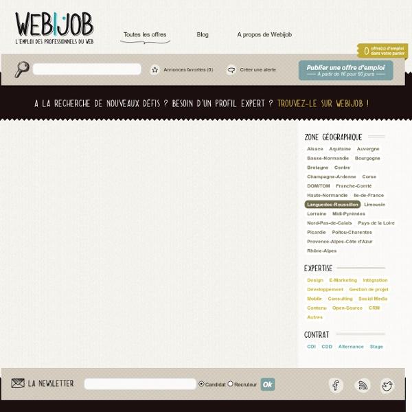 Offres d'emploi Web et Internet