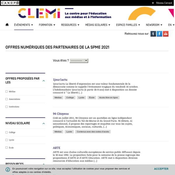 Offres numériques des partenaires de la SPME 2021- CLEMI