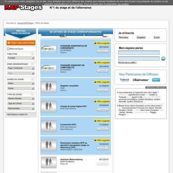 Offres de stage: recherchez un stage en entreprise sur KAP'Stages
