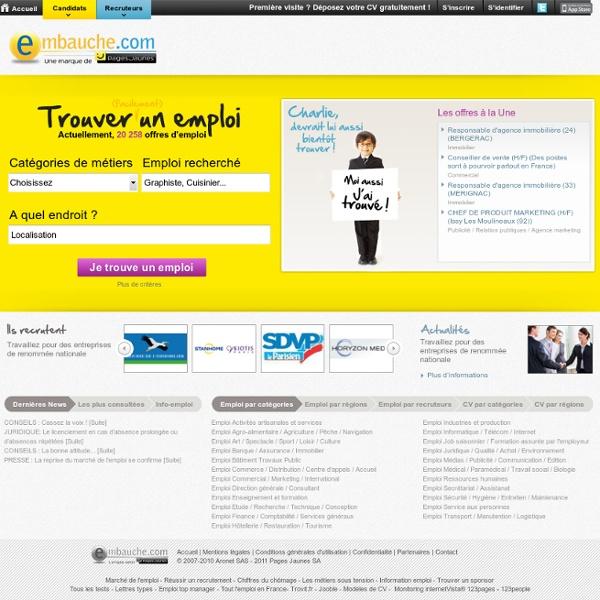 Enfin gratuitement ! tous les emplois en ligne. CV, offres d'emploi, alertes mail