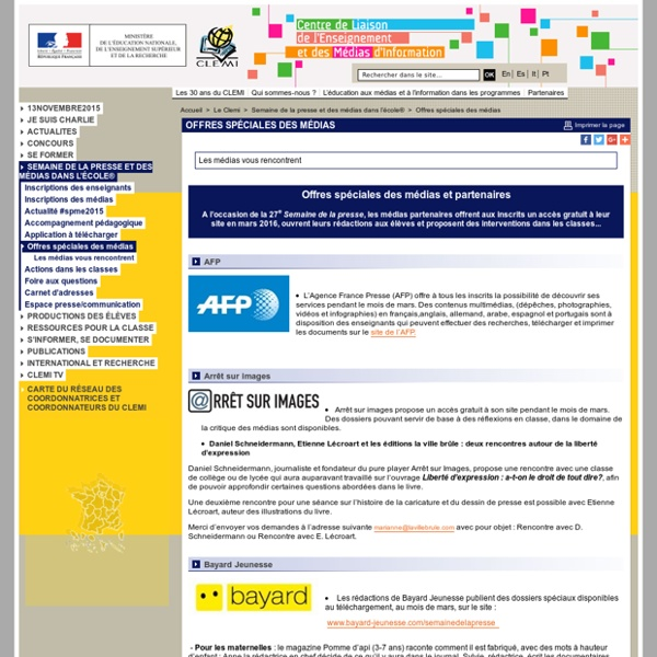 Offres spéciales des médias - Semaine de la presse et des médias dans l'école®