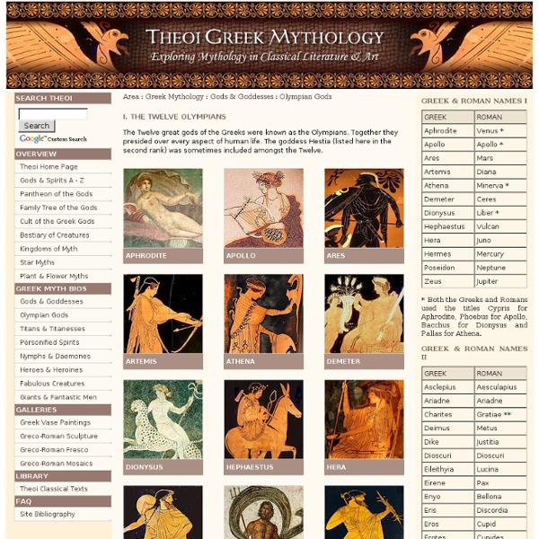 Olympian Gods of Greek Mythology THEOI.COM