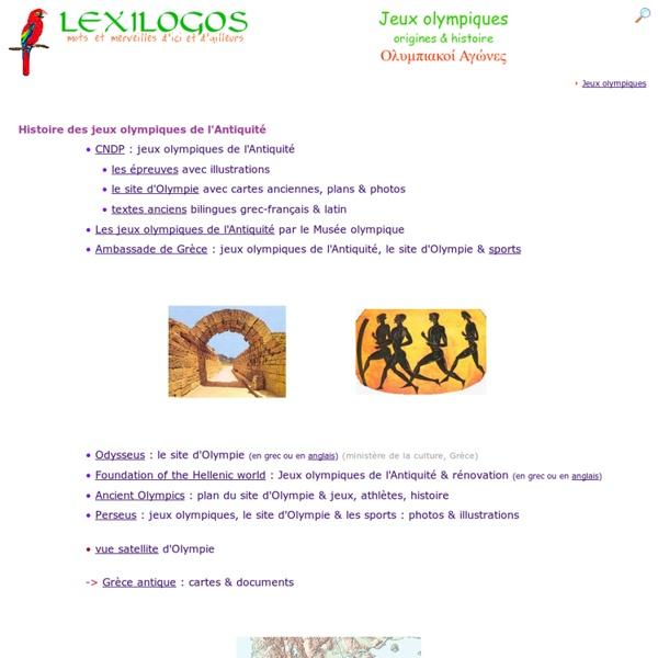 Jeux olympiques antiques, origine, histoire - Olympie, Zeus LEXILOGOS