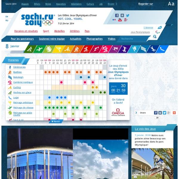 Jeux Olympiques de 2014 à Sotchi - Billets olympiques, Sports et Schedule
