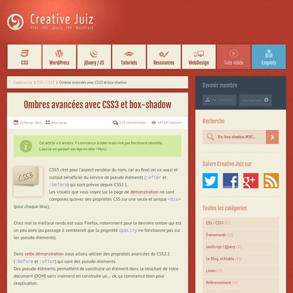 Ombres avancées avec CSS3 et box-shadow - CSS / CSS3