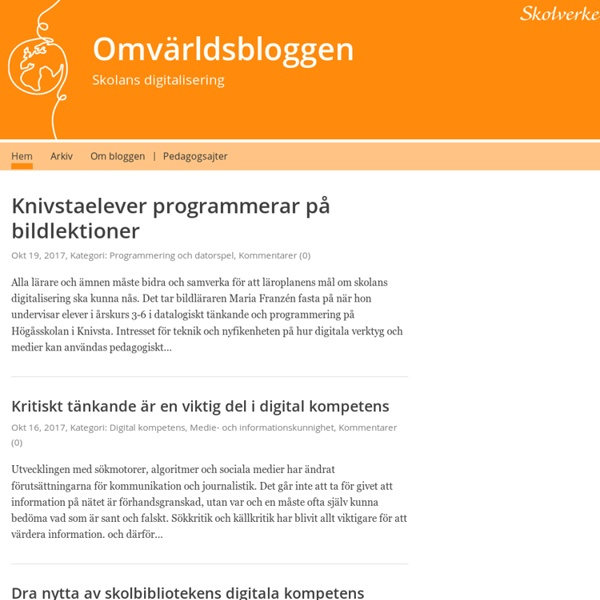 Omvärldsbloggen – Skolans digitalisering