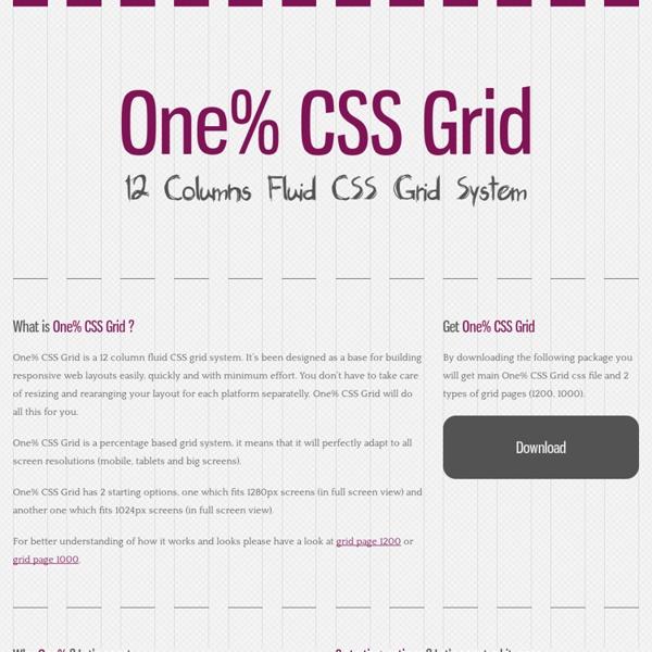 One% CSS Grid - 12 Columns Fluid CSS Grid System