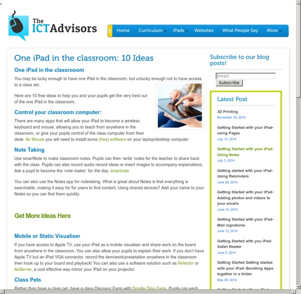 One iPad in the classroom? - Ideas for use