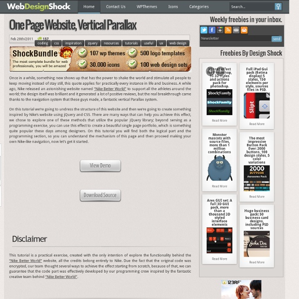 jQuery and CSS single page portfolio, a vertical parallax navigation experiment « Design and Development tuts – TutorialShock