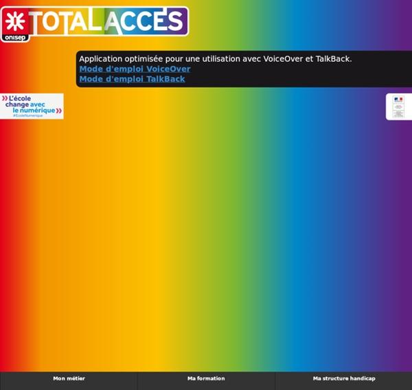 SITE ONISEP Total accès [Application adaptée aux personnes en situation de handicap]