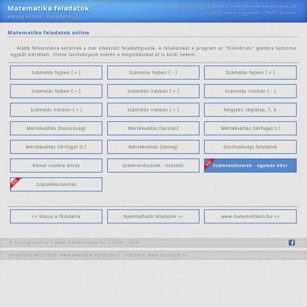 Önjavító online matematika feladatok