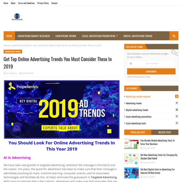 Get Top Online Advertising Trends You Must Consider These In 2019