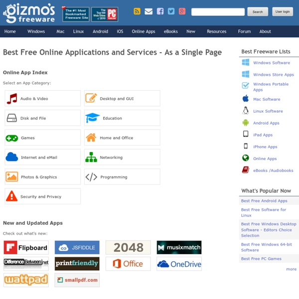 Best Free Online Applications and Services - As a Single Page
