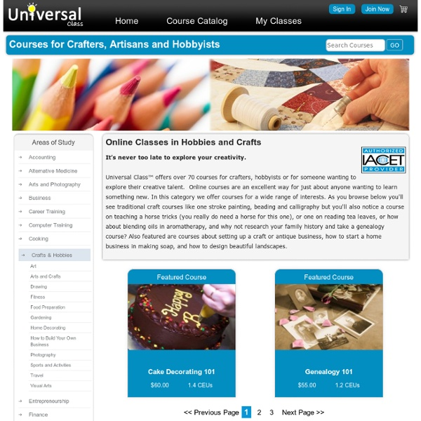 Online Classes in Hobbies and Crafts