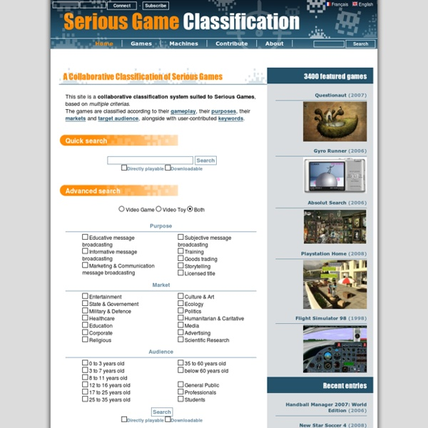 The online classification of Serious Games