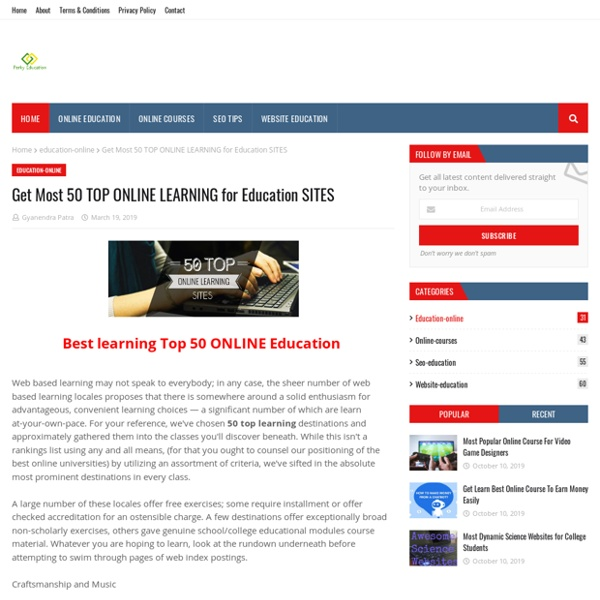Get Most 50 TOP ONLINE LEARNING for Education SITES
