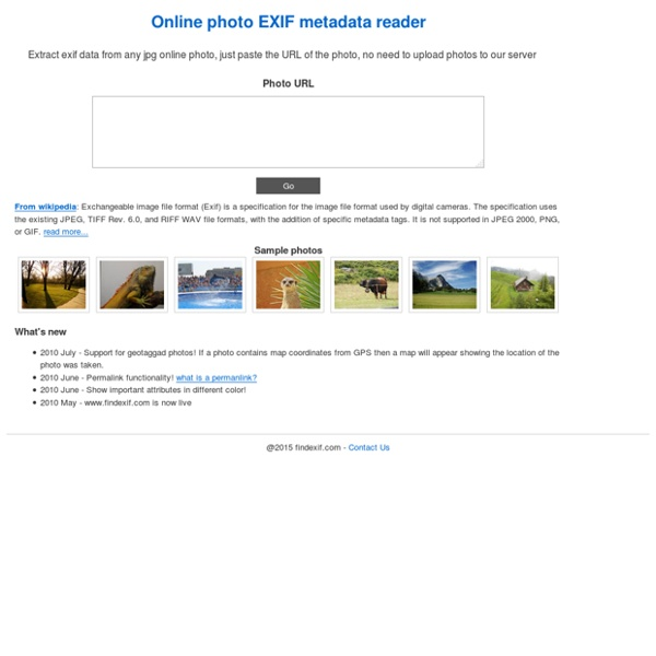 Find exif data - Online exif/metadata photo viewer