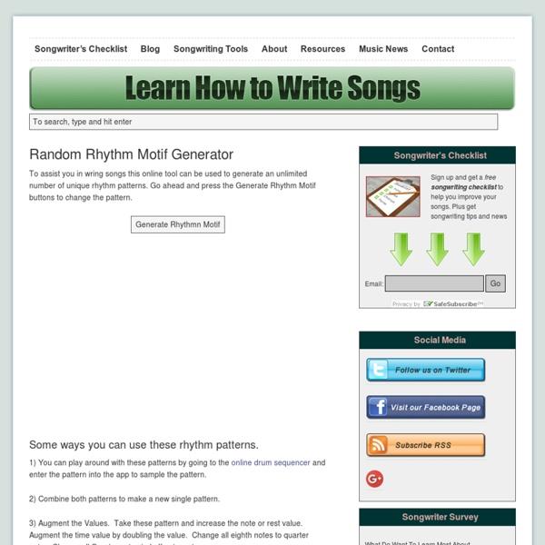 Online Random rhythm Motif Generator