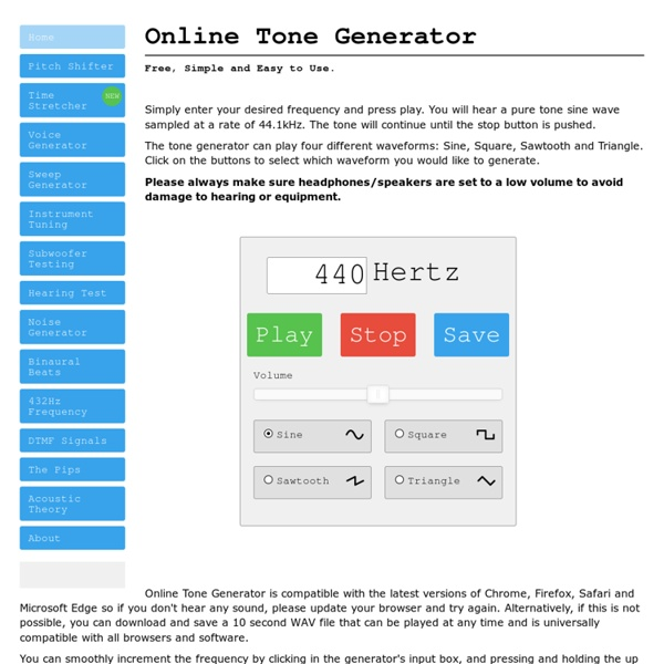 Online Tone Generator - Free, Simple and Easy to Use.