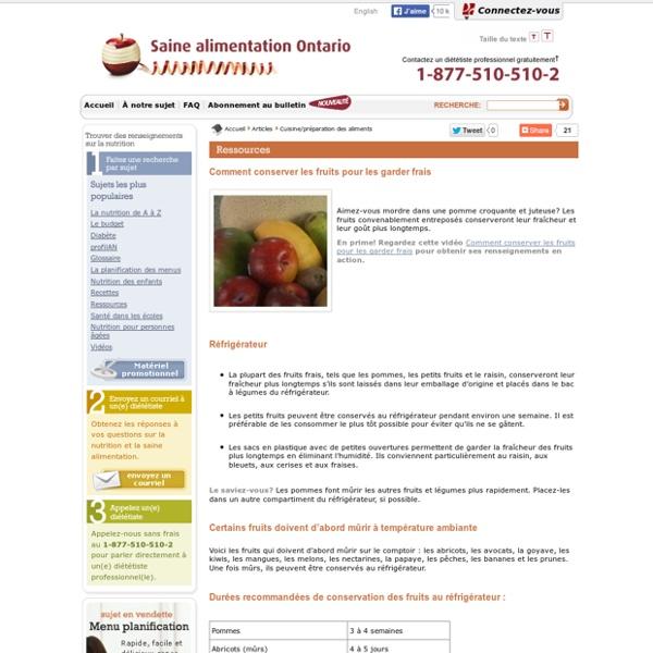 Conserver les fruits pour les garder frais