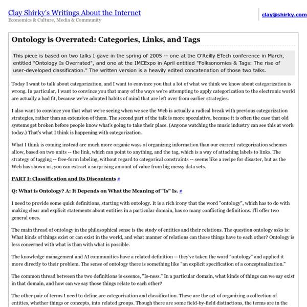 Ontologie est surfaite - Catégories, liens et tags