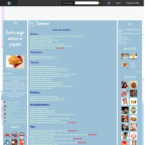 Blog de Ooorecettes-wwooO - Recettes weight watchers en propoints - Skyrock.com