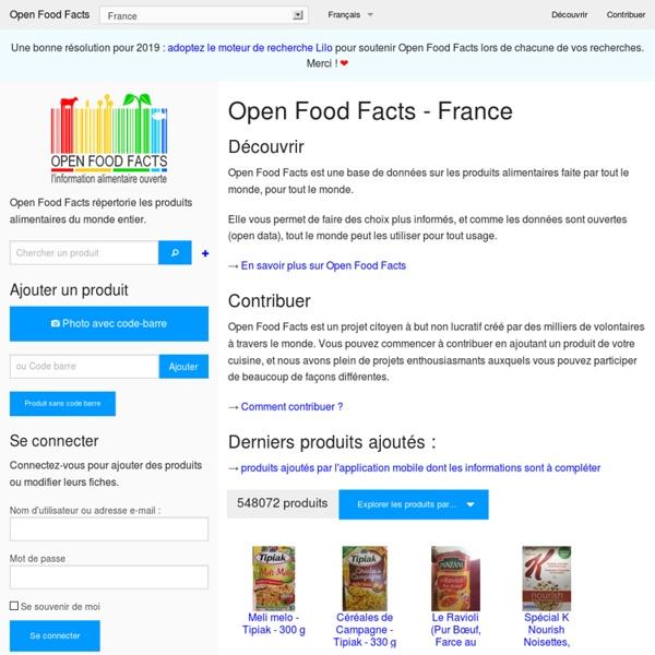 Base de données collaborative sur les aliments- Open Food Facts - France -
