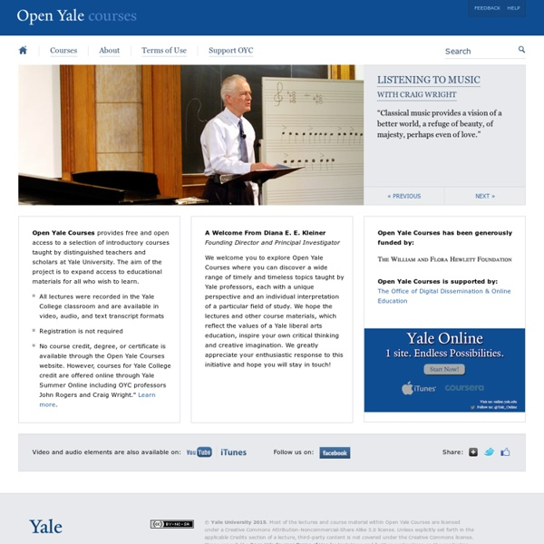 Online Video Lectures and Course Materials — Open Yale Courses