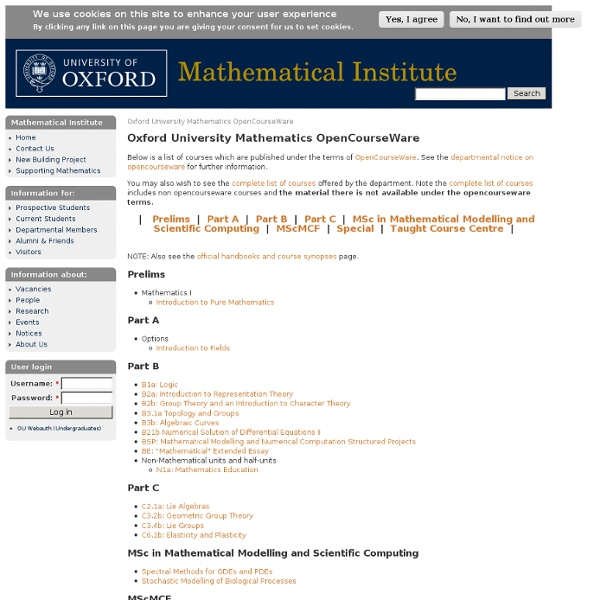 university opencourseware History the opencourseware movement started in 1999 when the university of tübingen in germany published videos of lectures online for its timms initiative.