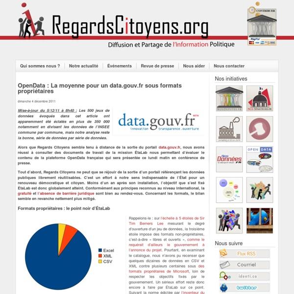 OpenData : La moyenne pour un data.gouv.fr sous formats propriétaires
