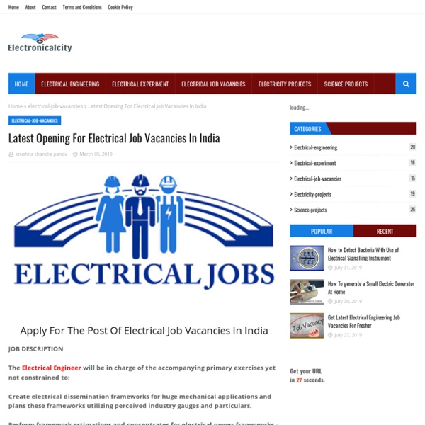 Latest Opening For Electrical Job Vacancies In India