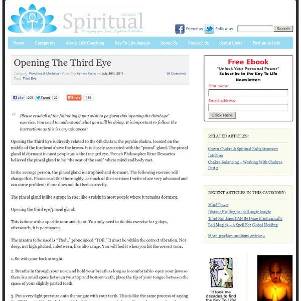 Opening The Third Eye - Spiritual.com.au