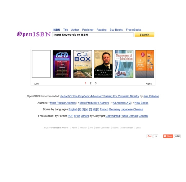 OpenISBN - ISBN Search & Free Book Data Download
