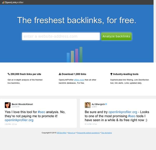 OpenLinkProfiler.org - The freshest backlinks. For free.