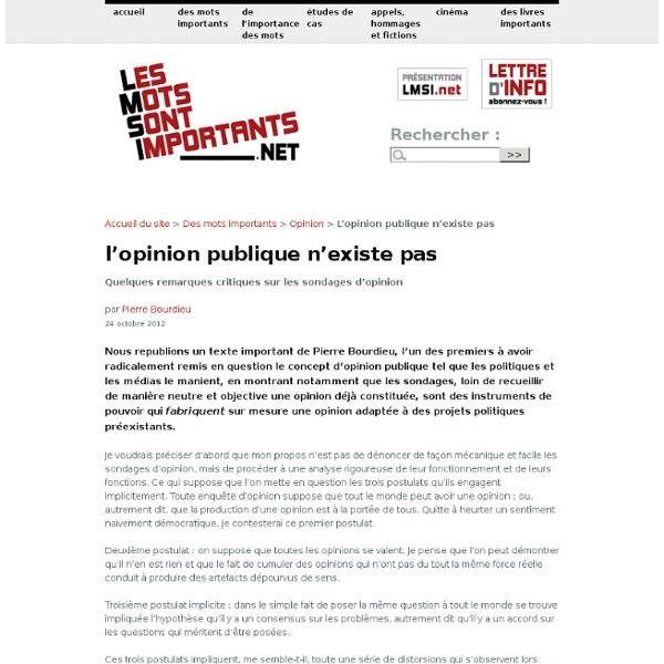 L'opinion publique n'existe pas