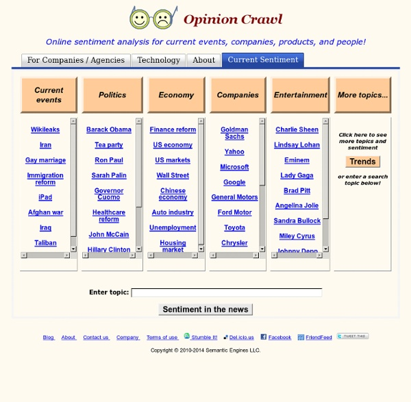 Opinion Crawl - sentiment analysis tool for the Web and social media