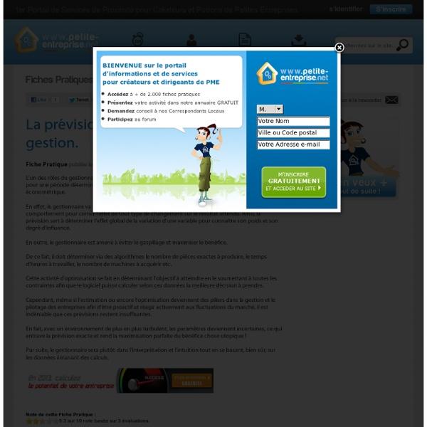 La prévision et l'optimisation en gestion., Expert - Comptable - PRO en gestion