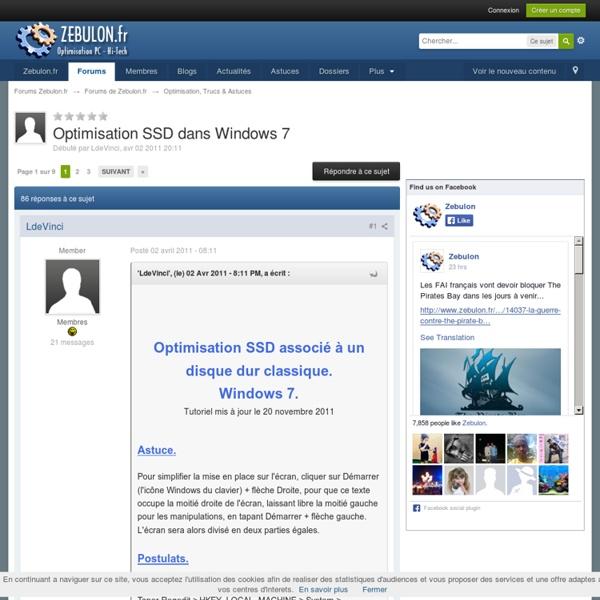 Optimisation SSD dans Windows 7
