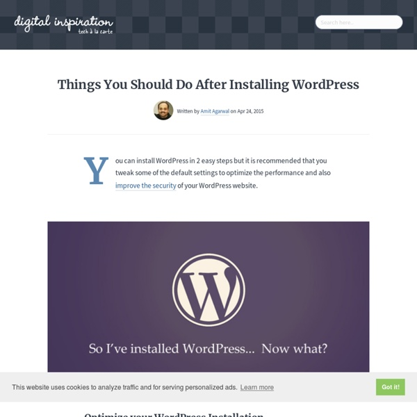 WordPress Tips - Things To Do After Installing Wordpress