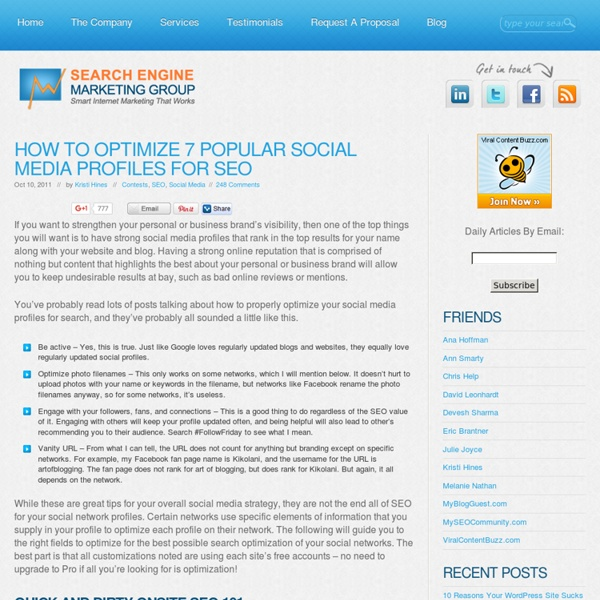 How to Optimize 7 Popular Social Media Profiles for SEO « Search Engine Marketing Group